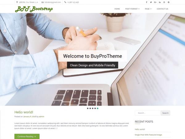 Free BPT Bootstrap WordPress theme