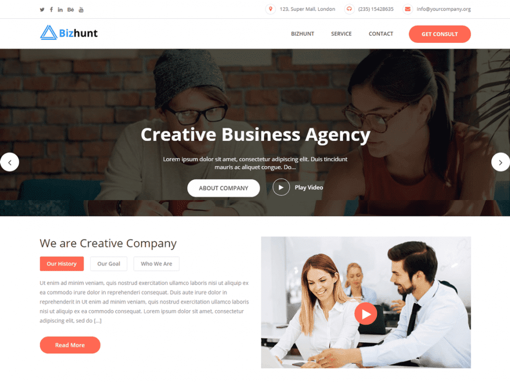 Free Bizhunt WordPress theme