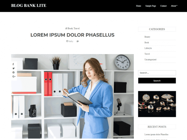 Free Blog Bank Lite WordPress theme