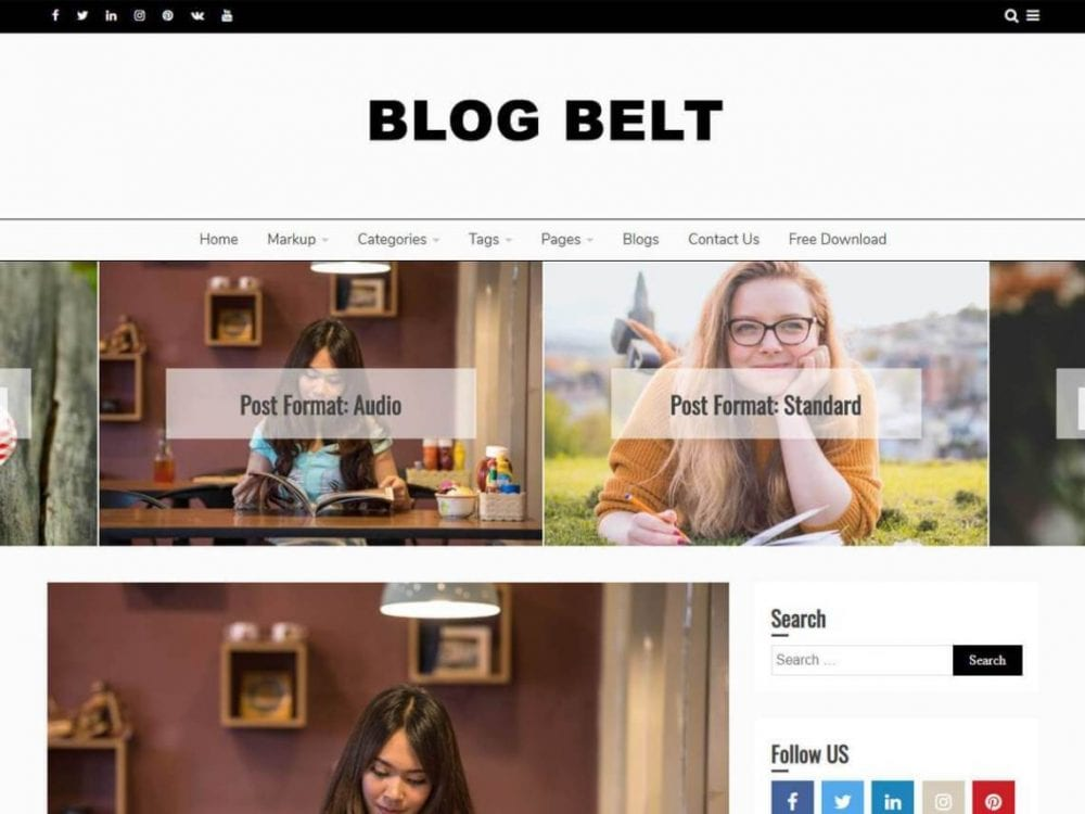 Free Blog Belt WordPress theme