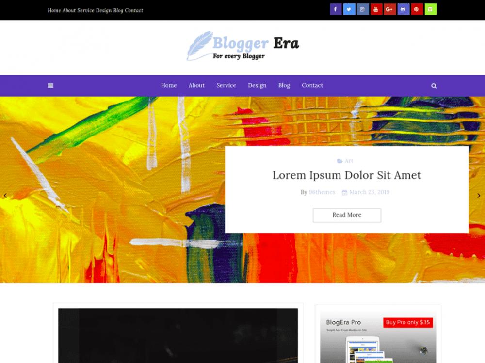 Free Blogger Era Plus WordPress theme
