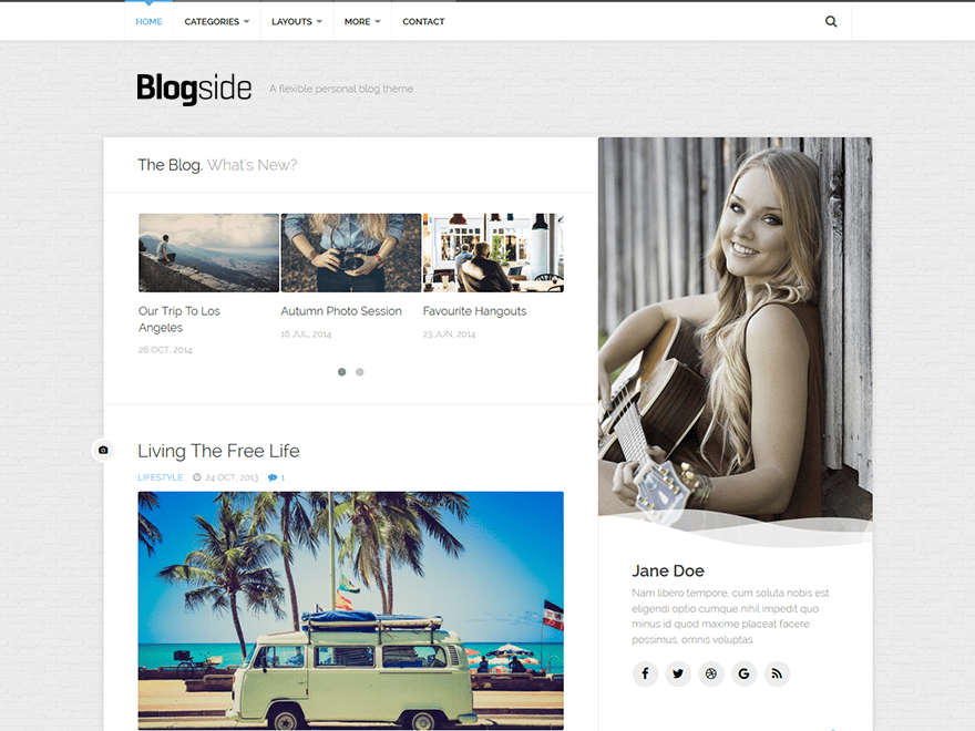 Free Blogside WordPress theme