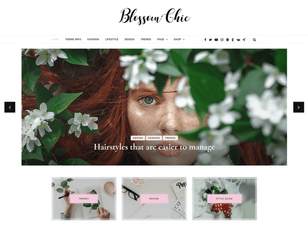 Free Blossom Chic WordPress theme