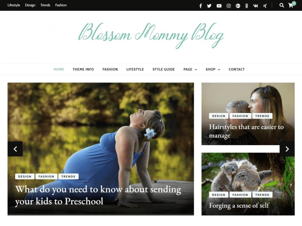 Free Blossom Mommy Blog WordPress theme