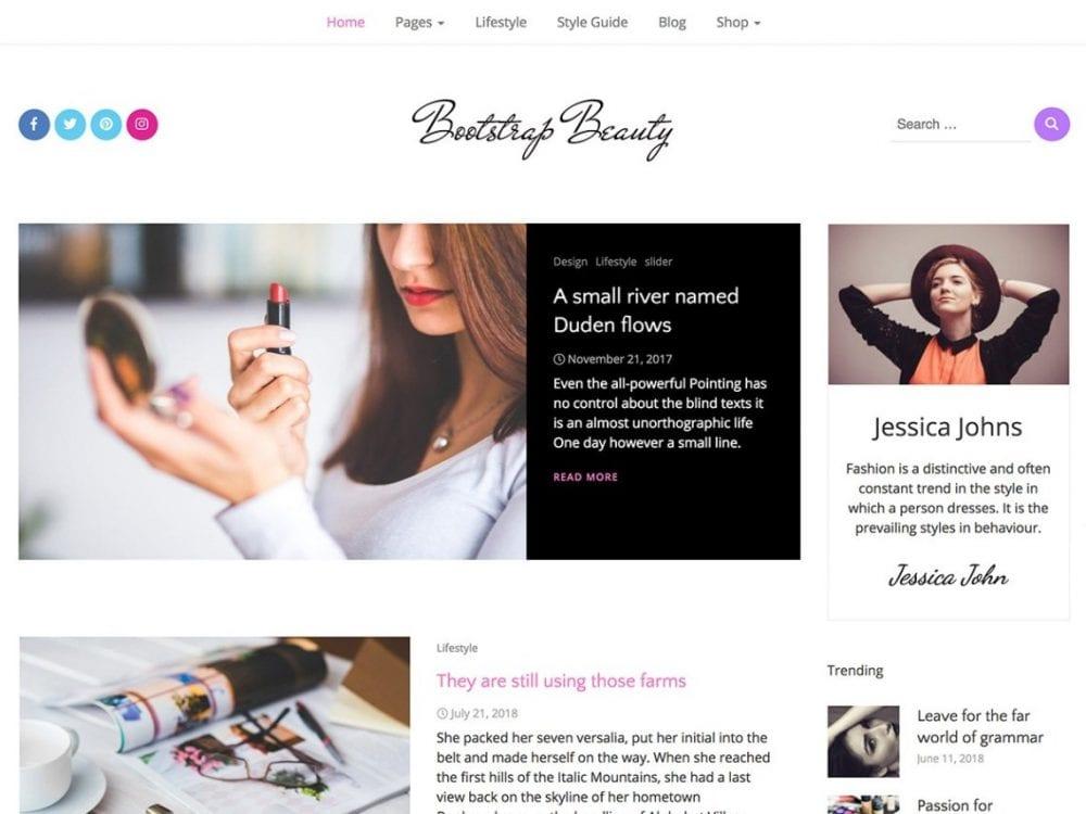 Free Bootstrap Beauty WordPress theme