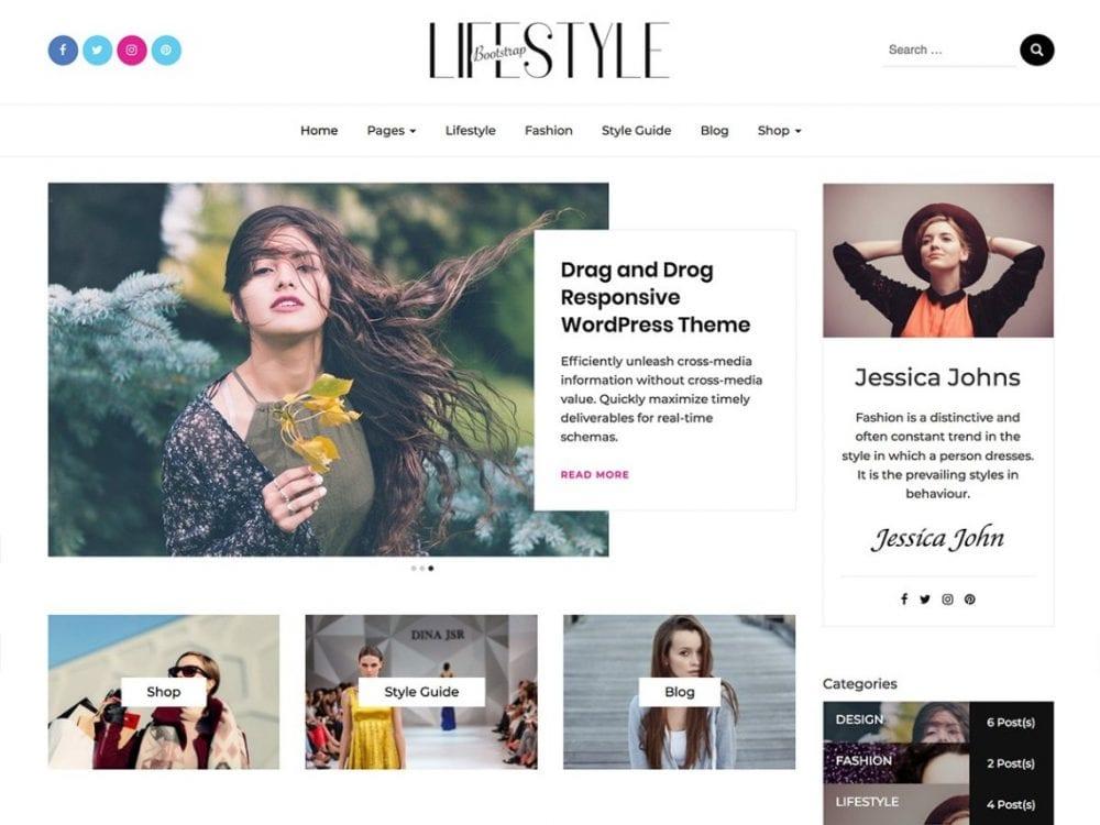 Free Bootstrap Blog WordPress theme
