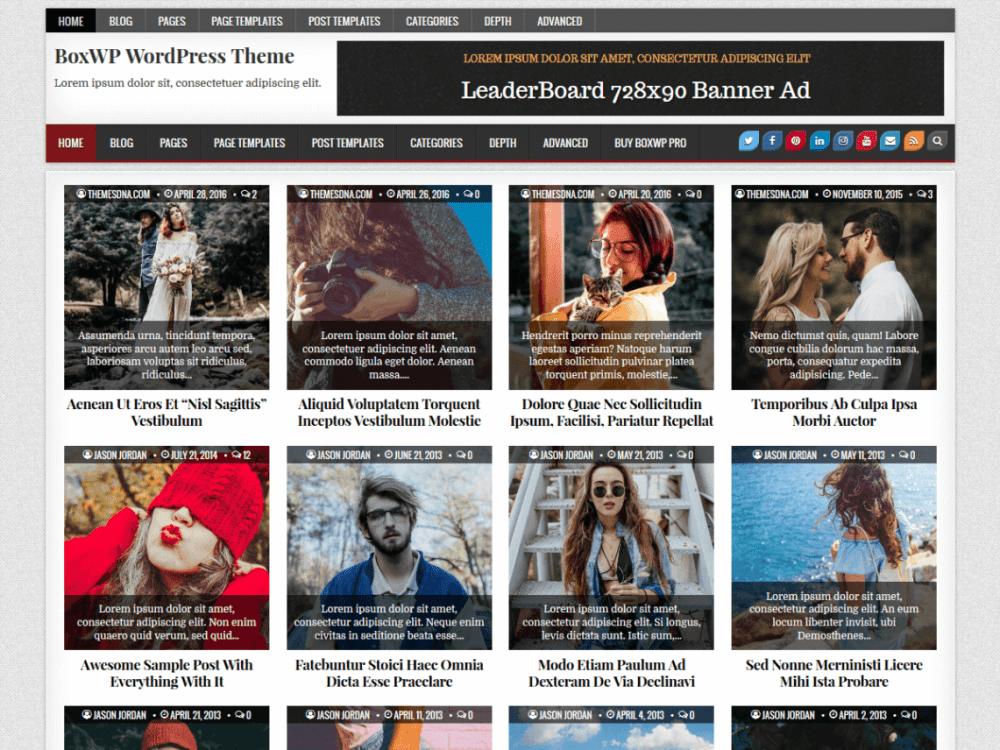 Free BoxWP WordPress theme