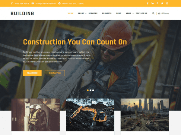 Free Building Lite WordPress theme