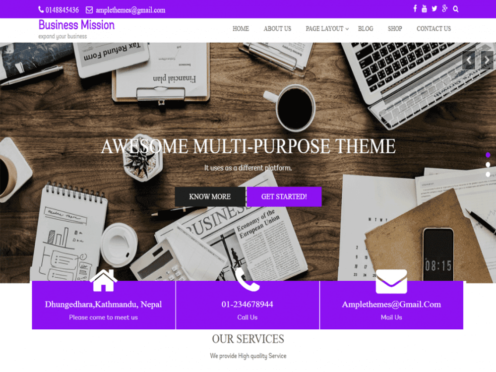 Free Business Mission WordPress theme