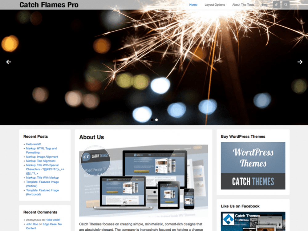 Free Catch Flames WordPress theme