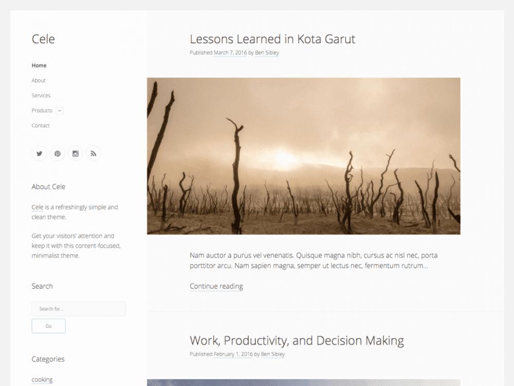Free Cele WordPress theme