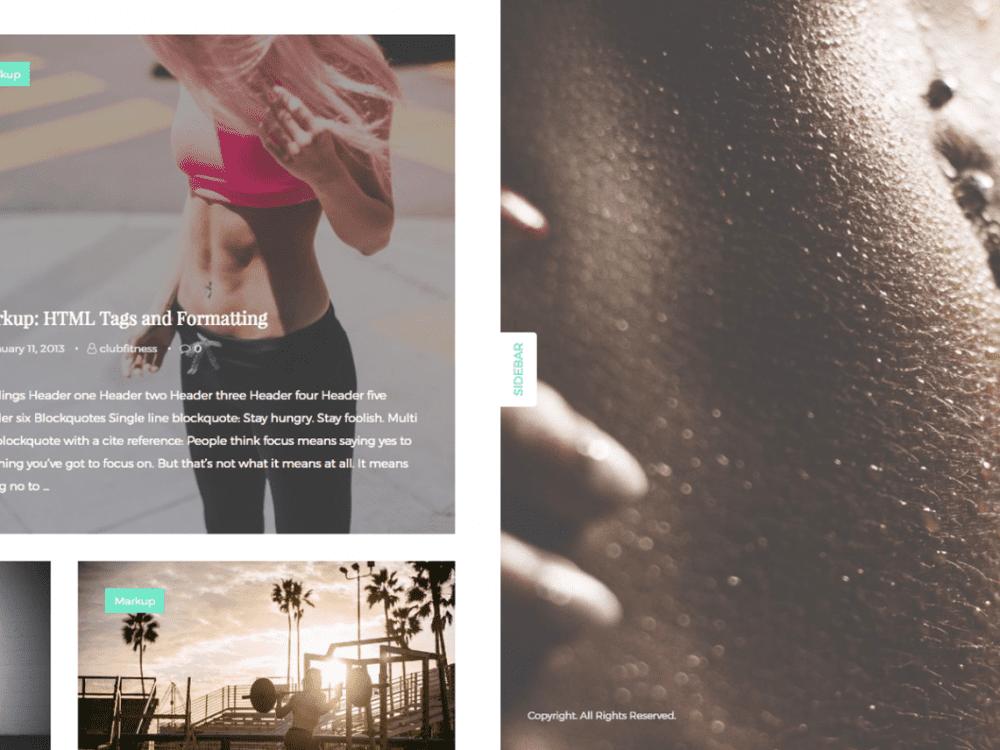 Free ClubFitness WordPress theme