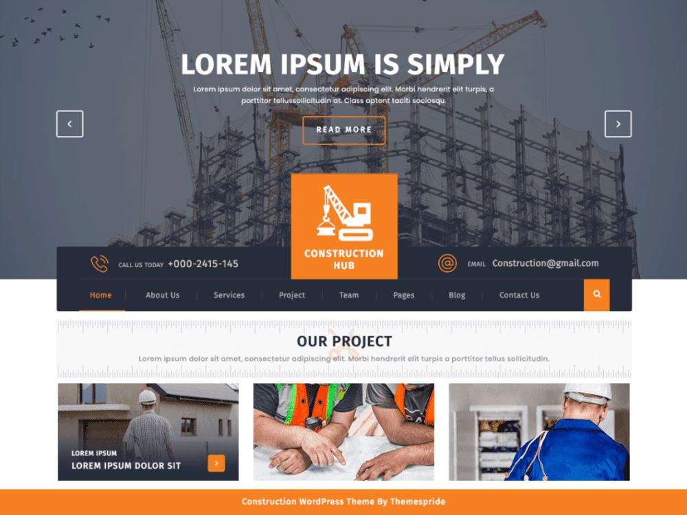 Free Construction Hub WordPress theme