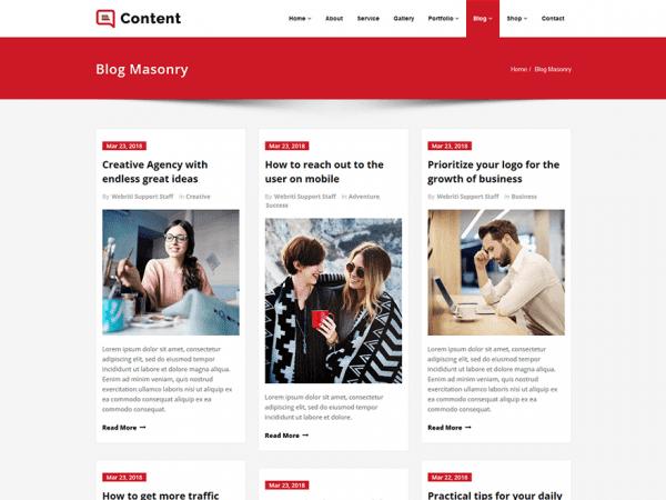 Free Content WordPress theme