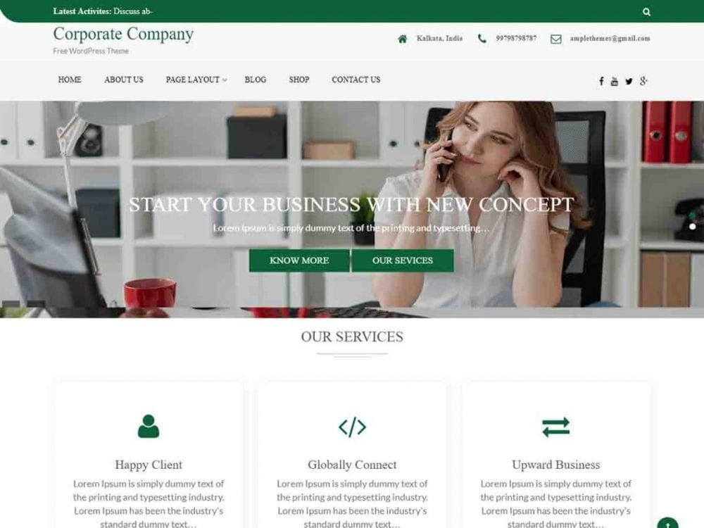 Free Corporate Company WordPress theme