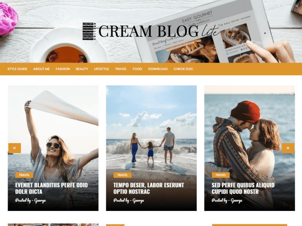 Free Cream Blog Lite WordPress theme