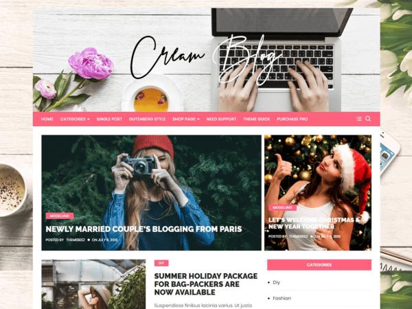 Free Cream Blog WordPress theme
