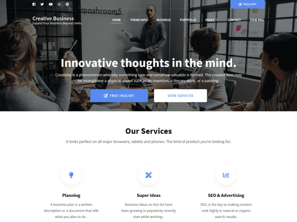 Free Creative Business WordPress theme