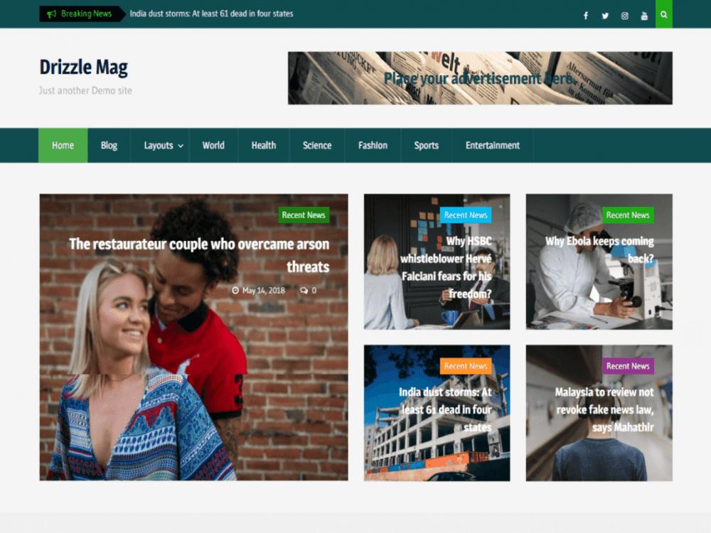 Free Drizzle Mag WordPress theme