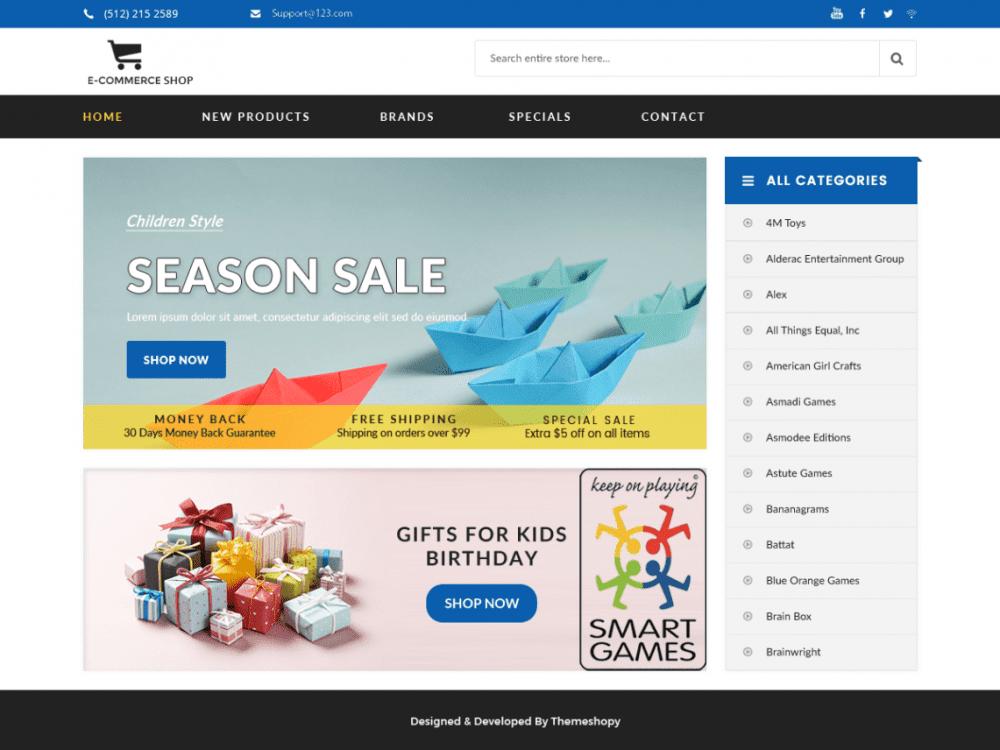 Free E-commerce Shop WordPress theme