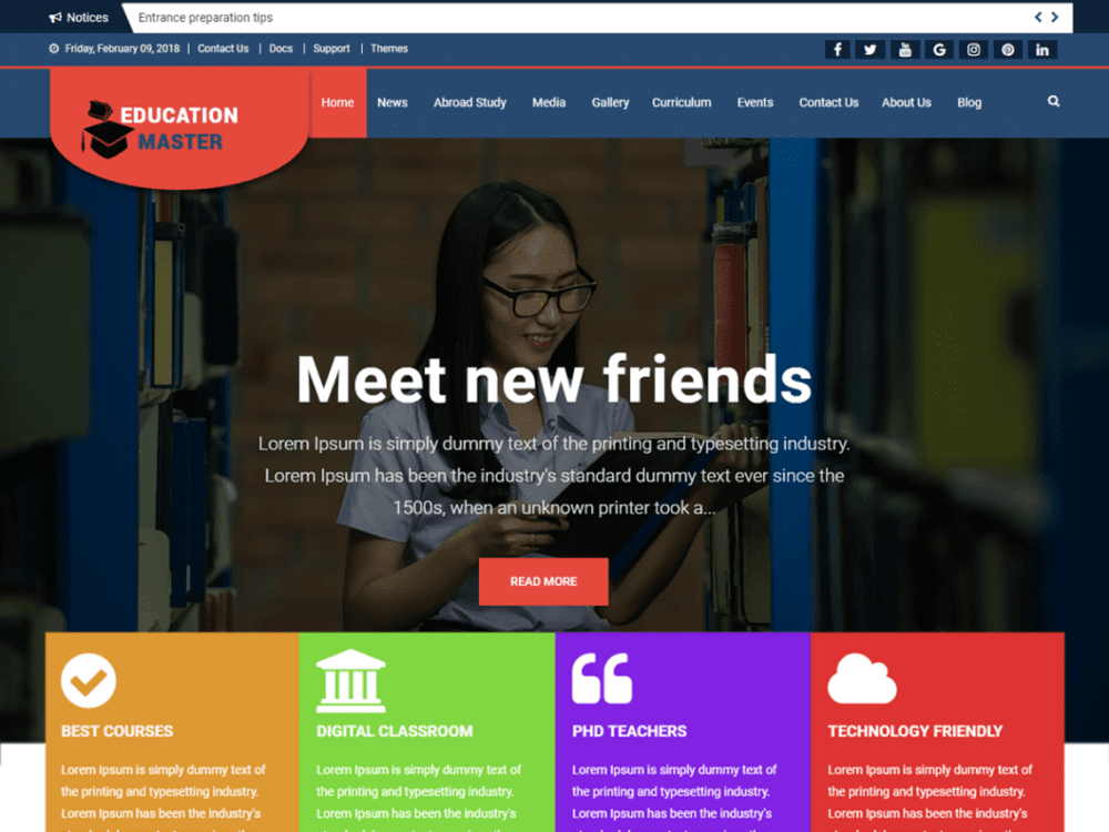 Free Education Master WordPress theme