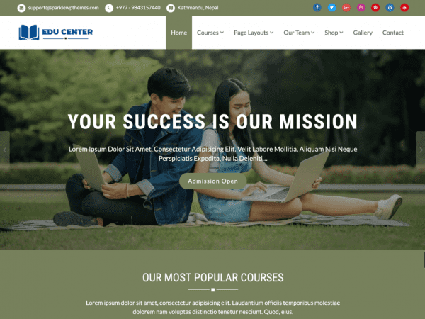 Free Educenter WordPress theme