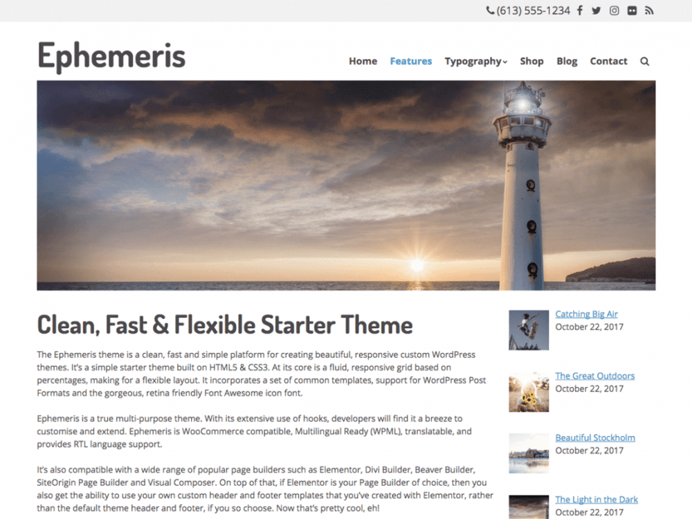 Free Ephemeris WordPress theme