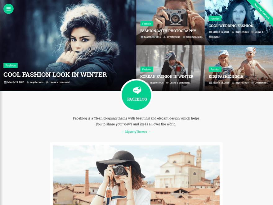 Free FaceBlog WordPress theme