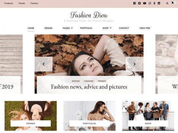 Free Fashion Diva WordPress theme