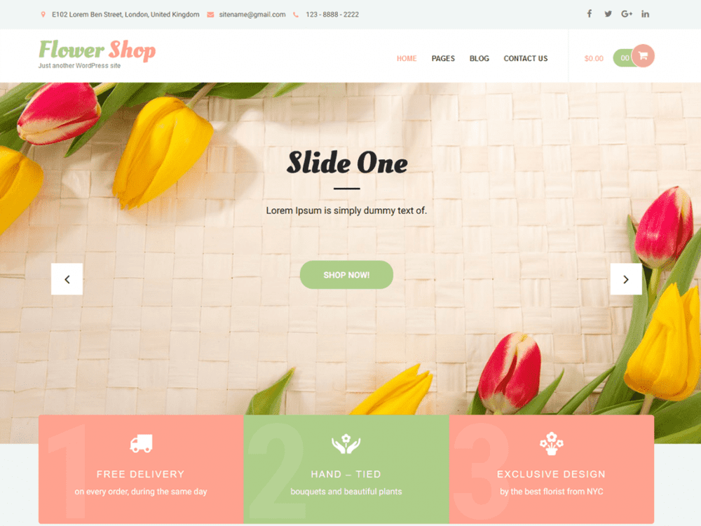 Free Flower Shop Lite WordPress theme