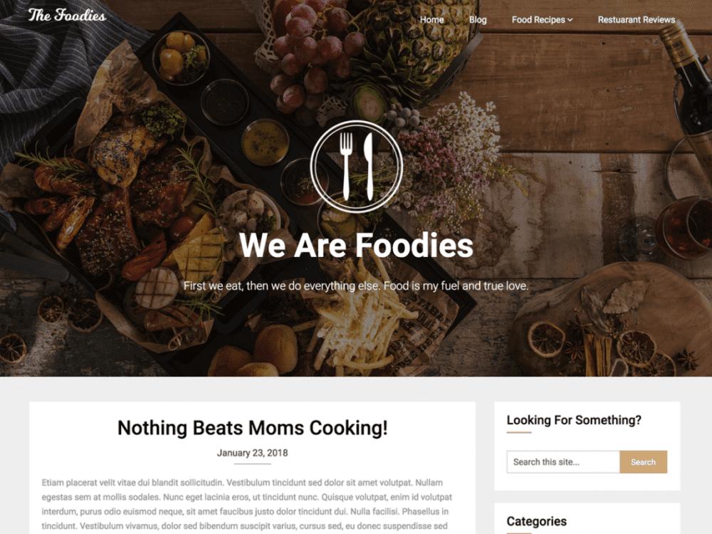 Free Foodie blog WordPress theme