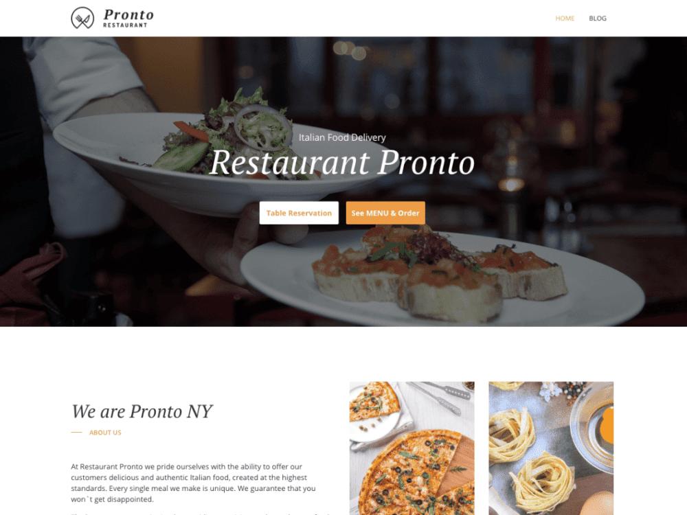Free GloriaFood Restaurant WordPress theme