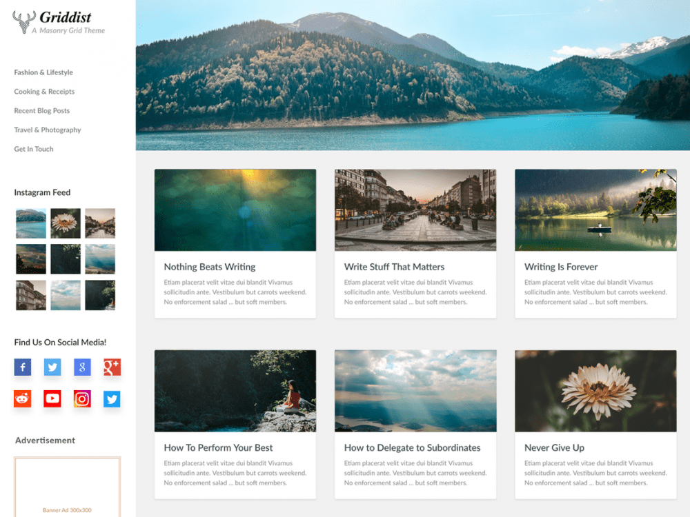 Free Griddist WordPress theme