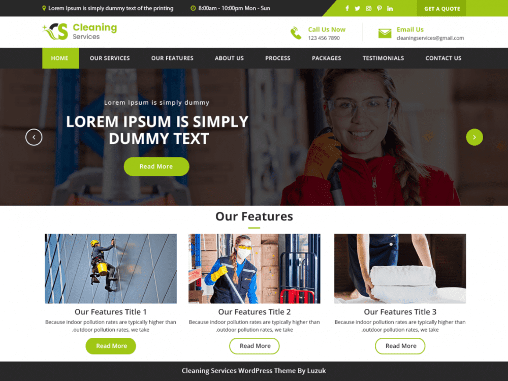 Free LZ Cleaning Services WordPress theme