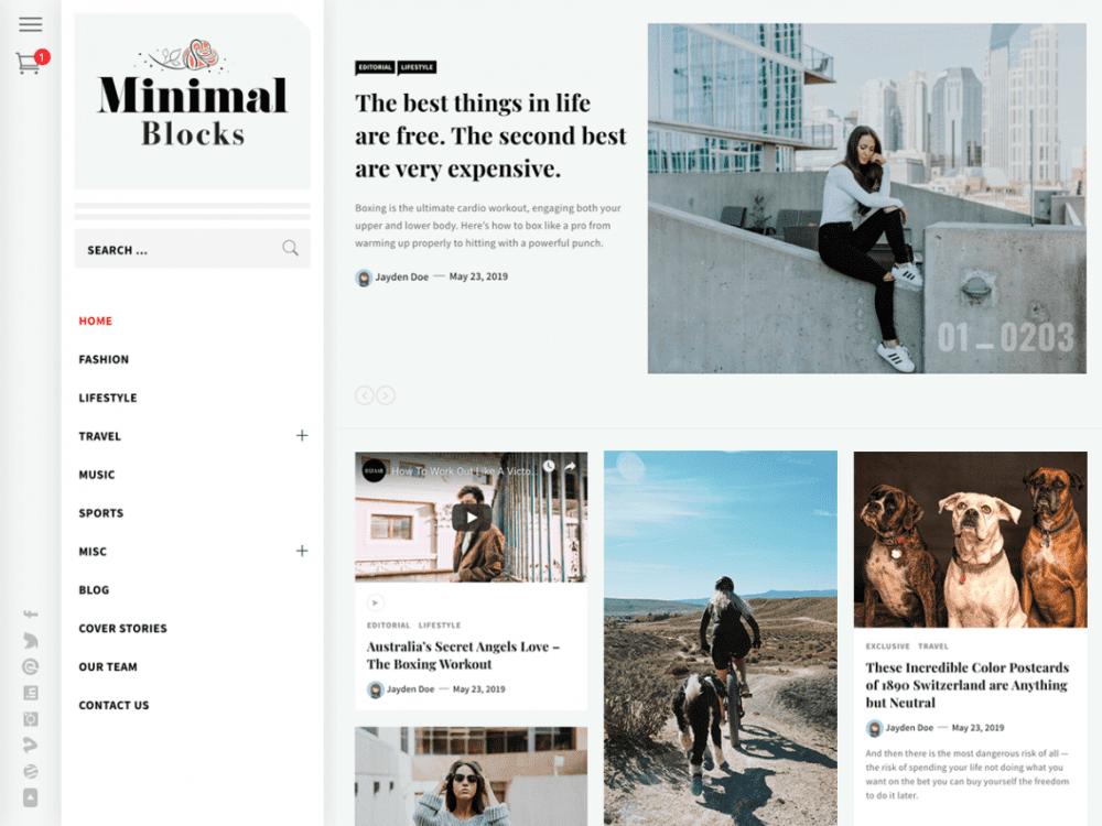 Free Minimal Blocks WordPress theme