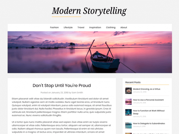 Free Modern Storytelling WordPress theme