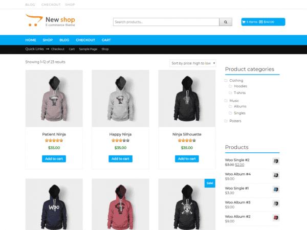 Free New Shop WordPress theme