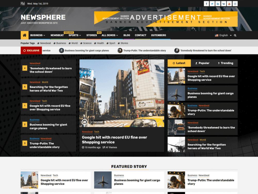 Free Newsphere WordPress theme