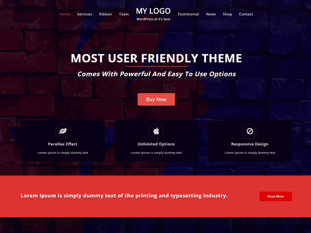 Free One Page Power WordPress theme