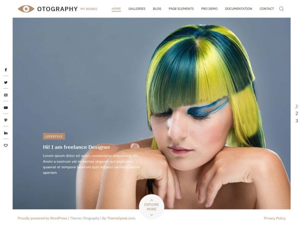 Free Otography WordPress theme