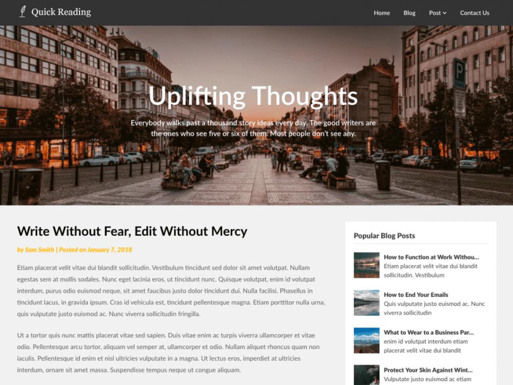 Free Quick Reading WordPress theme