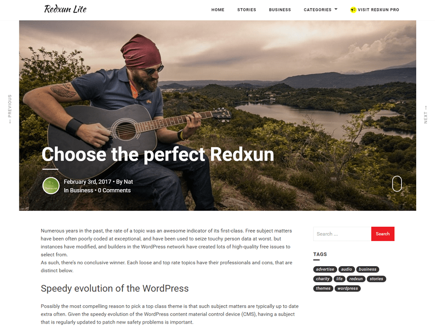 Free RedxunLite WordPress theme