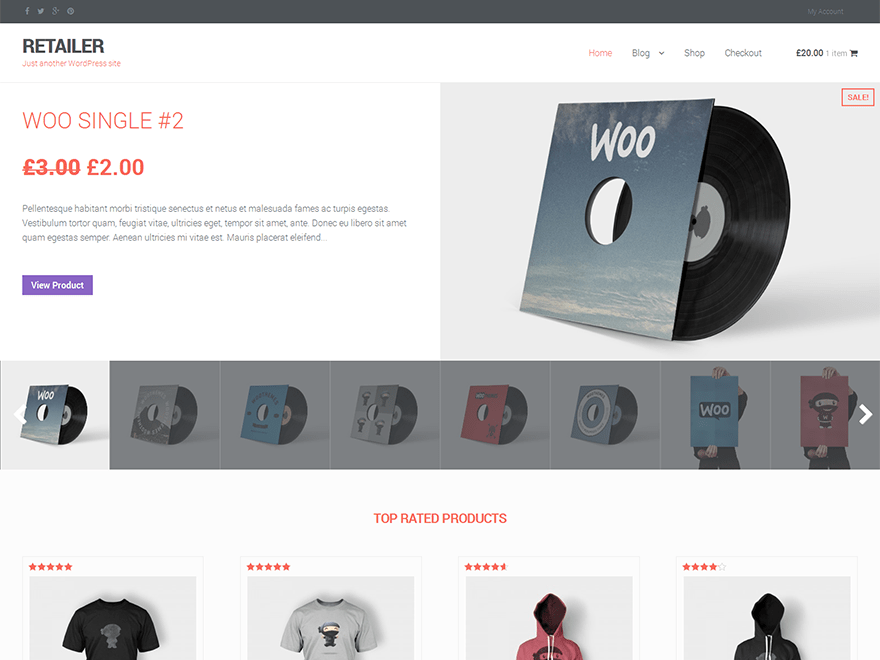 Free Retailer WordPress theme