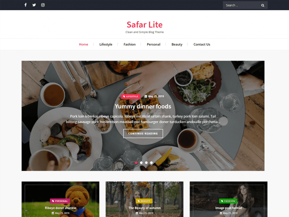 Free Safar Lite WordPress theme