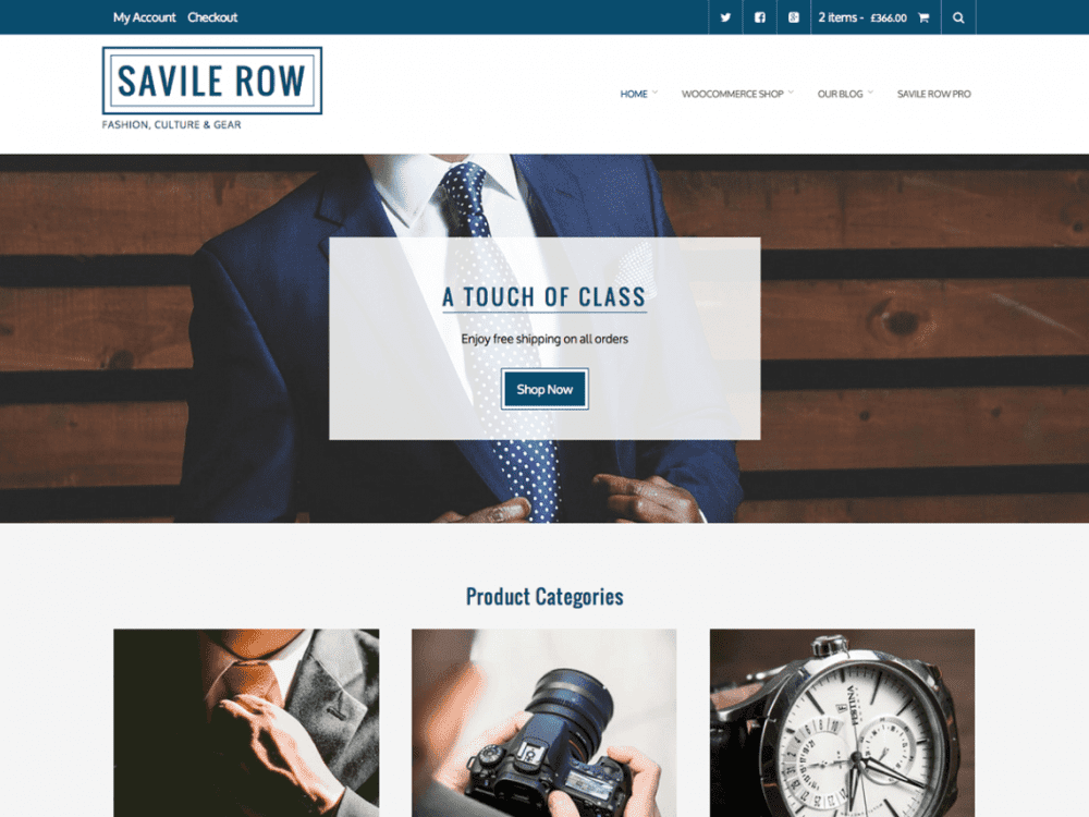Free Savile Row WordPress theme