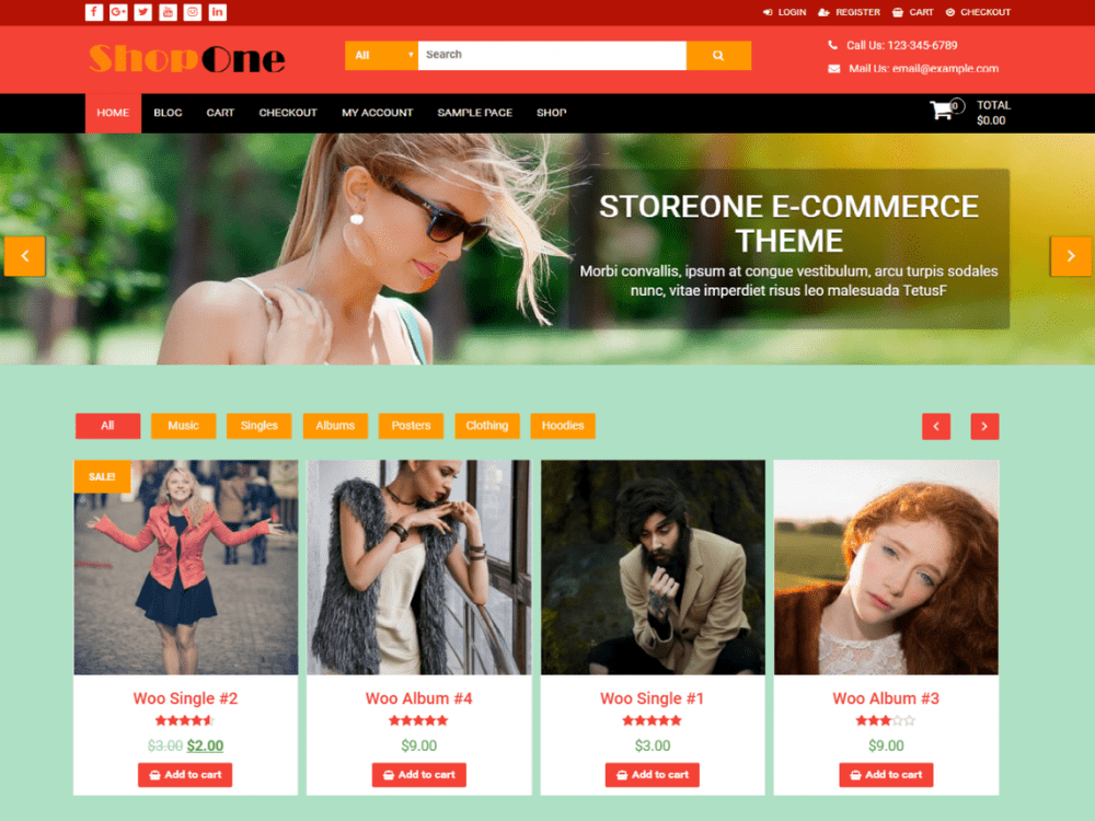 Free ShopOne WordPress theme