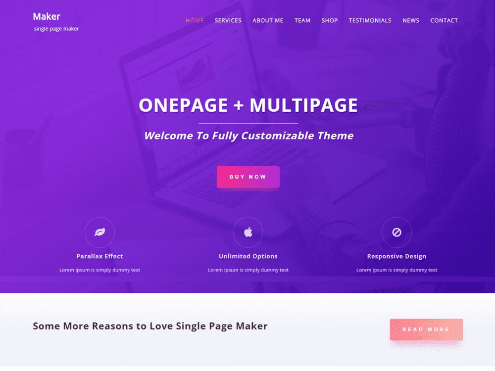 Free Single Page Maker WordPress theme