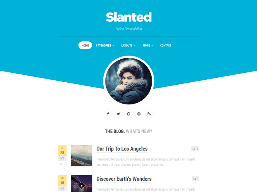 Free Slanted WordPress theme