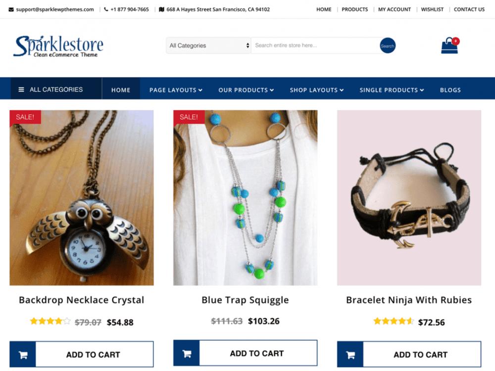 Free SparkleStore WordPress theme