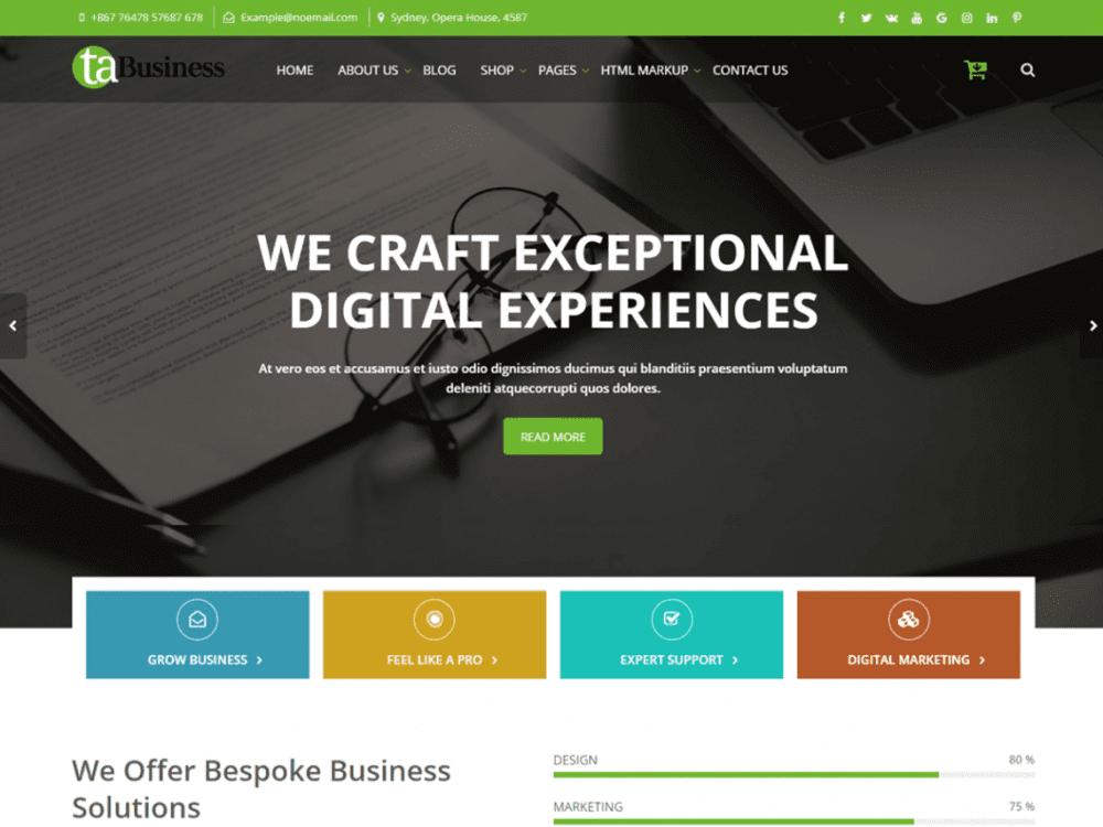 Free TA Business WordPress theme
